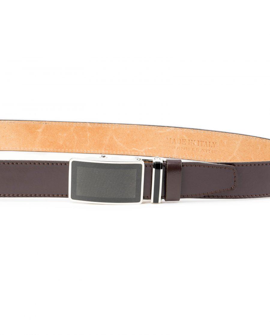 Mens-Ratchet-Belt-Brown-Leather-Automatic-Buckle-On-pants