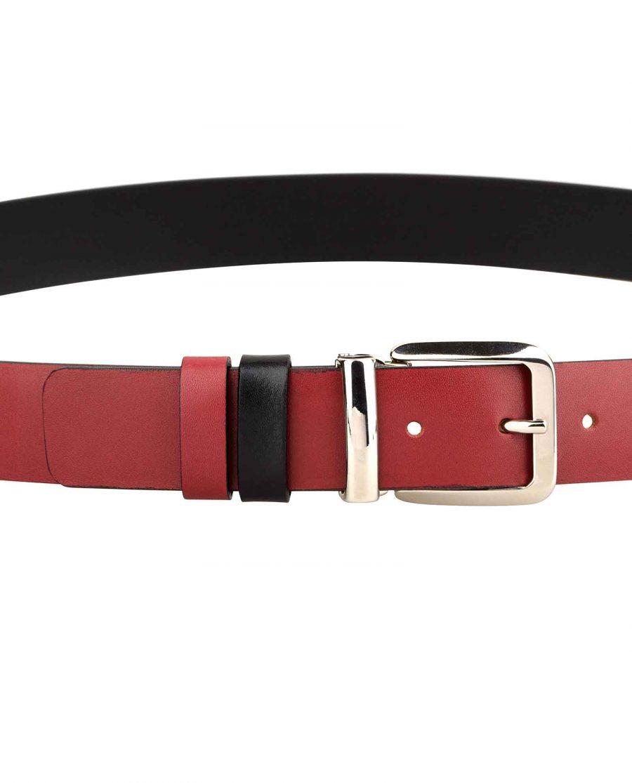 Mens-Red-Belt-Italian-Buckle-On-trousers