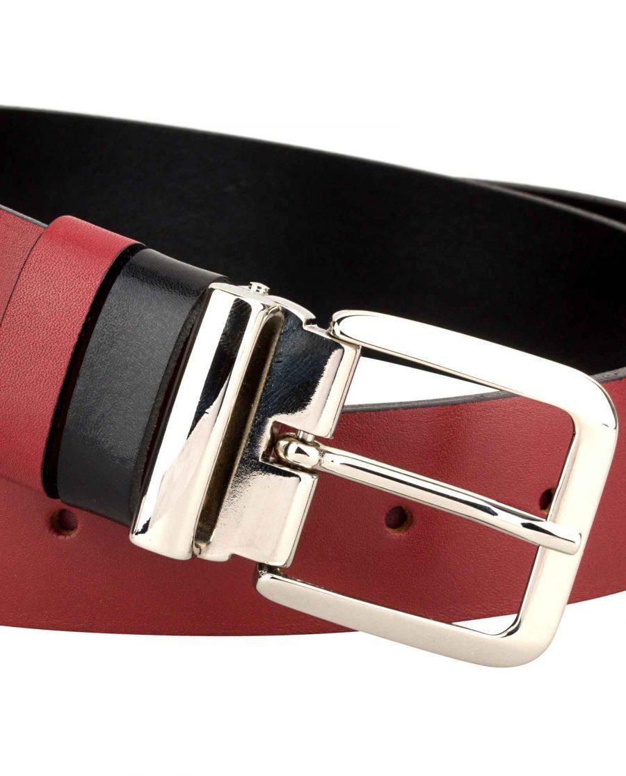 Mens-Red-Belt-Italian-Buckle-Zoom-image