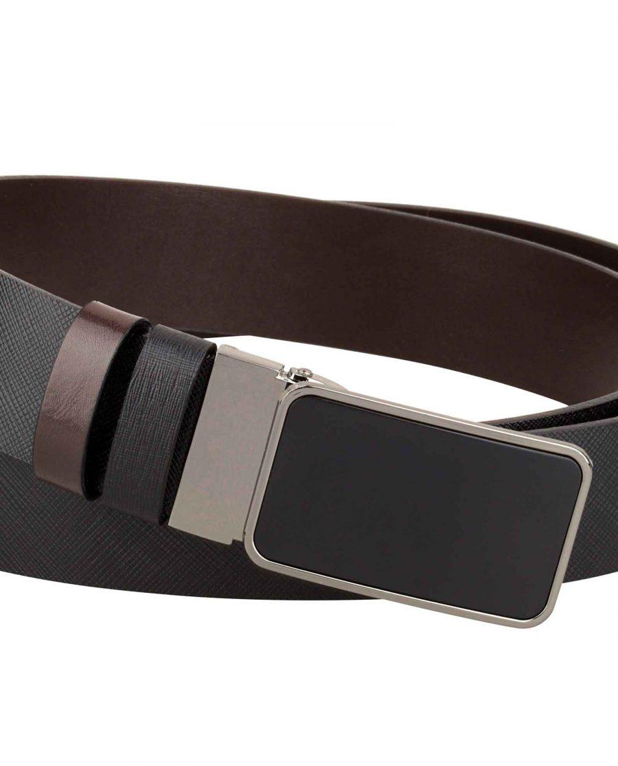 Mens-Saffiano-Leather-Belt-Close-look