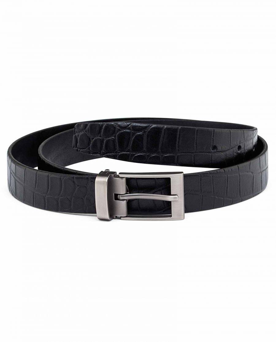 Mens-Thin-Dress-Belt-GUnmetal-brushed-buckle