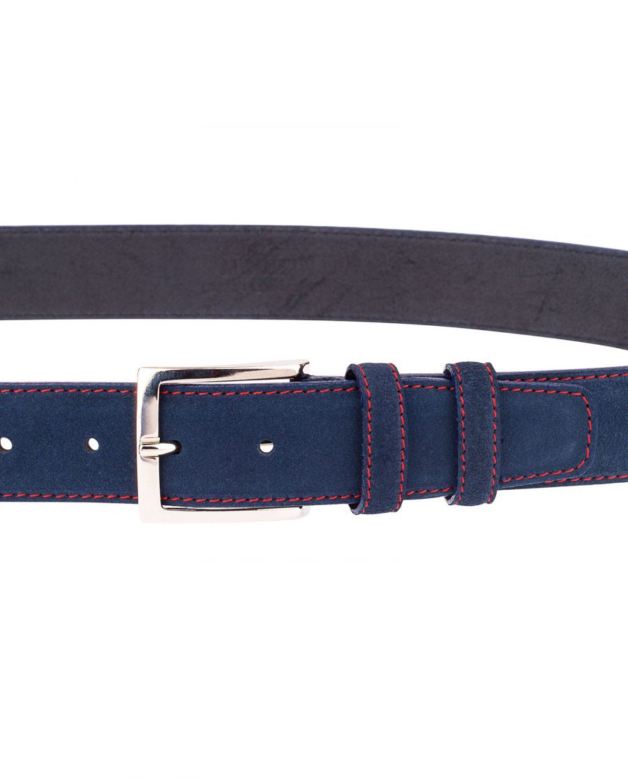Navy-Blue-Belt-With-Red-Thread-Buckle
