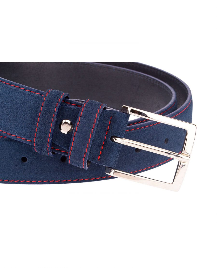 Navy-Blue-Belt-With-Red-Thread-Buckle-closer