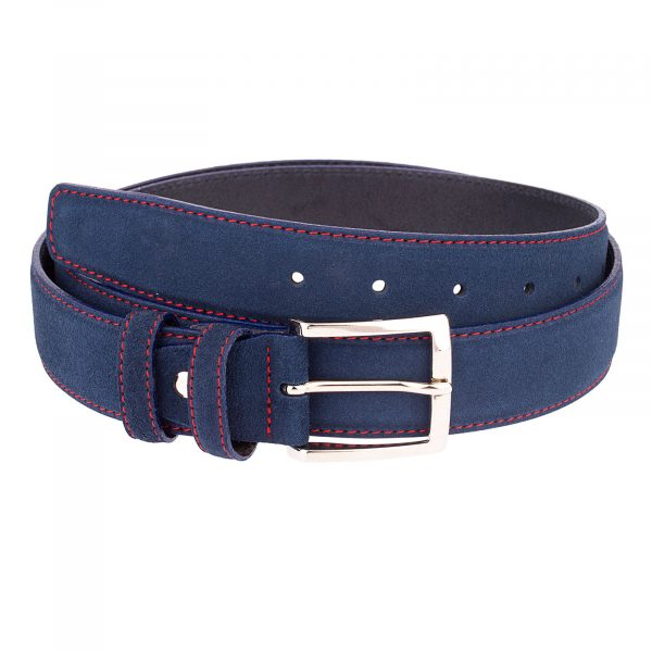 Navy-Blue-Belt-With-Red-Thread-Front