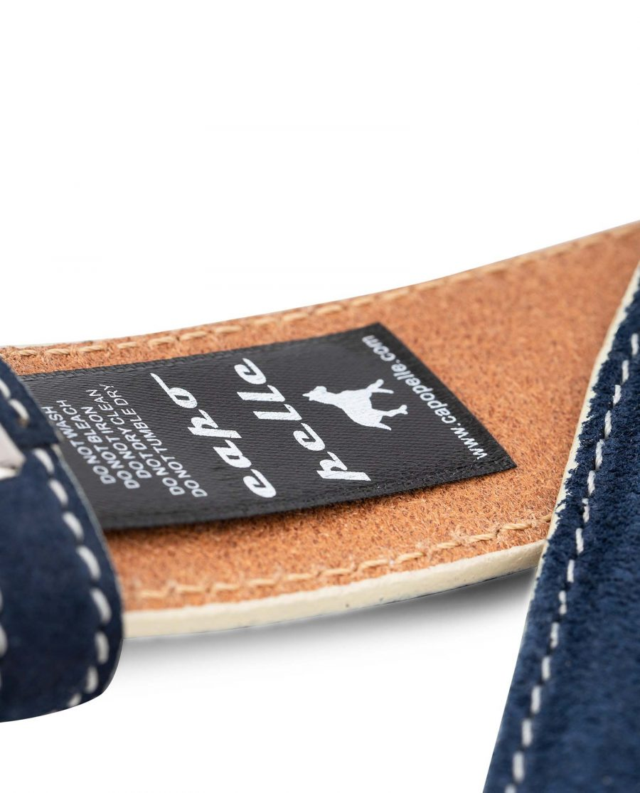 Navy-Suede-1-3-8-Belt-Strap-with-White-Edges-Italian-leather-by-Capo-Pelle-Care-label