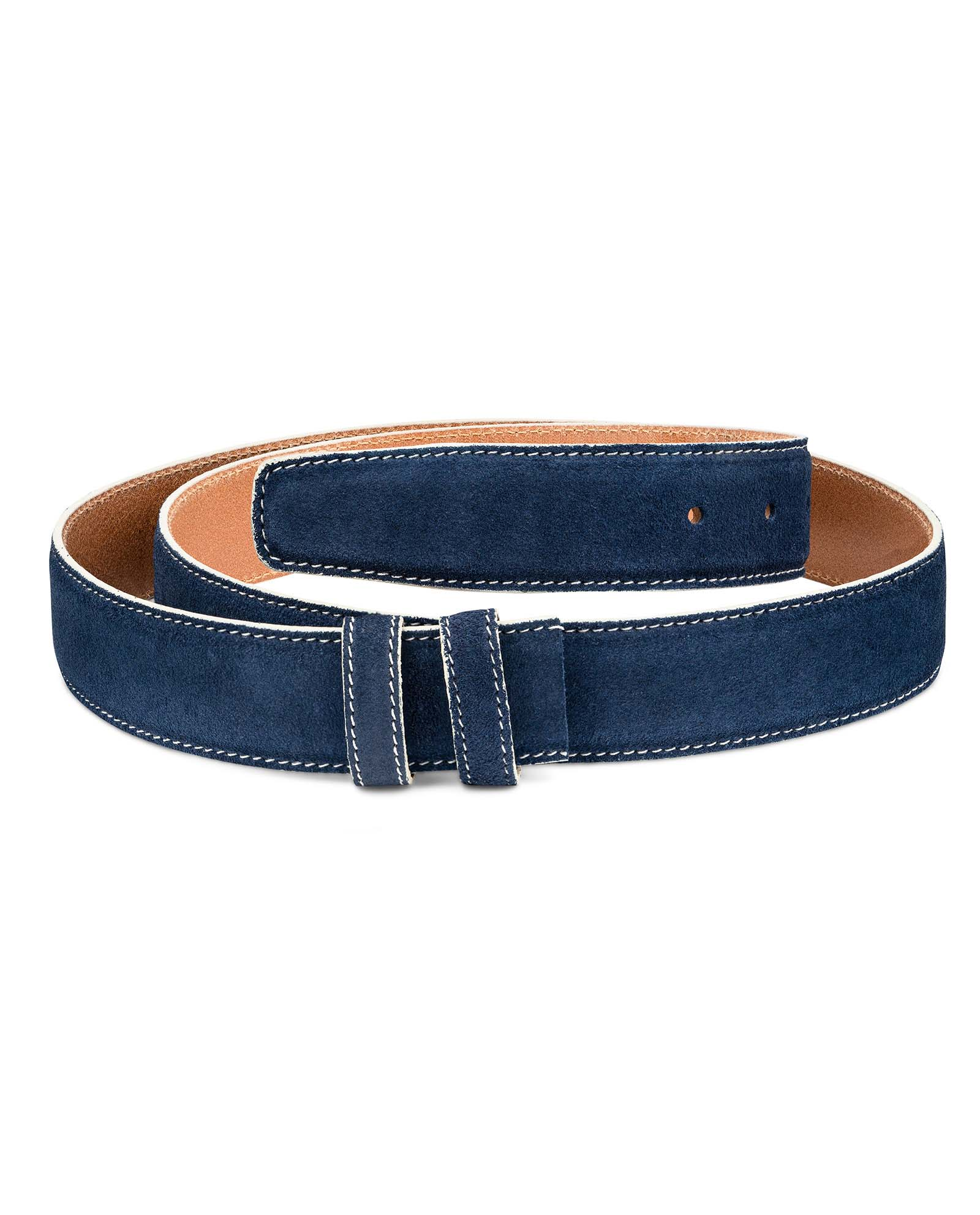 Navy Suede 1 3//8″ Belt Strap White feather edges Replacement belts Adjustable