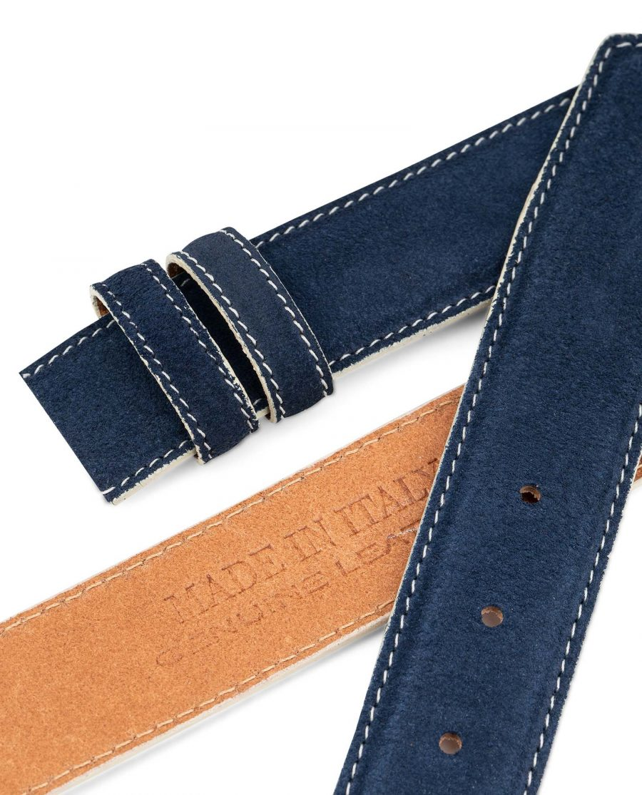 Navy-Suede-1-3-8-Belt-Strap-with-White-Edges-Italian-leather-by-Capo-Pelle-Heat-stamp