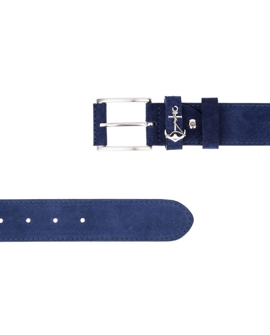 Navy-Suede-Belt-Anchor-Yacht-Marine-Two-Ends