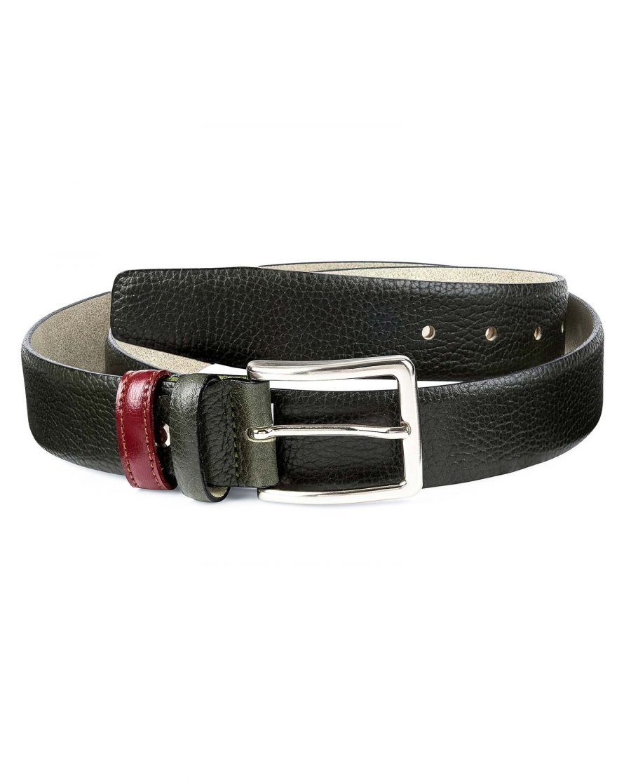 Olive-Green-Leather-Belt-With-Red-Capo-Pelle-First-picture