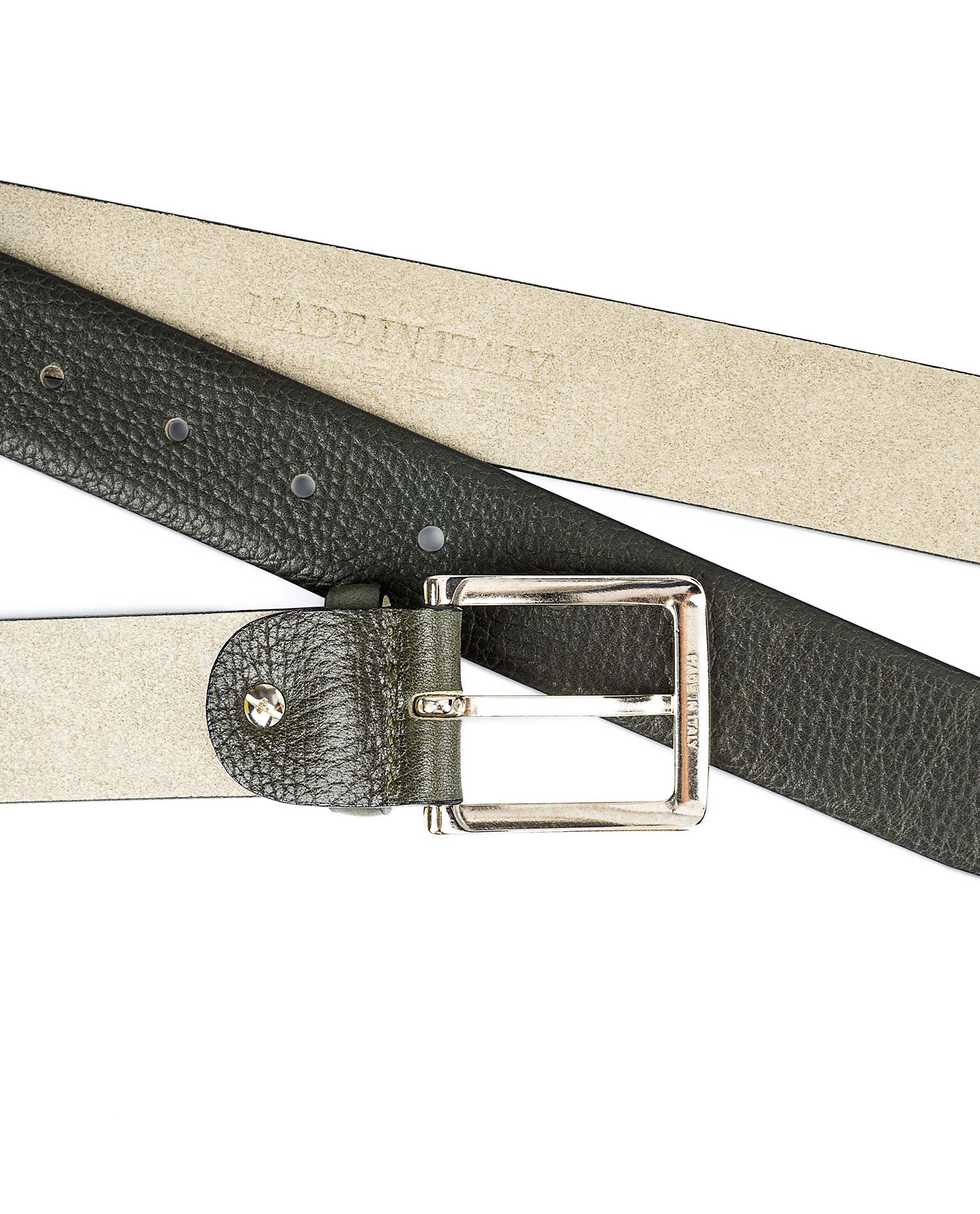 Olive-Green-Leather-Belt-With-Red-Capo-Pelle-From-the-top