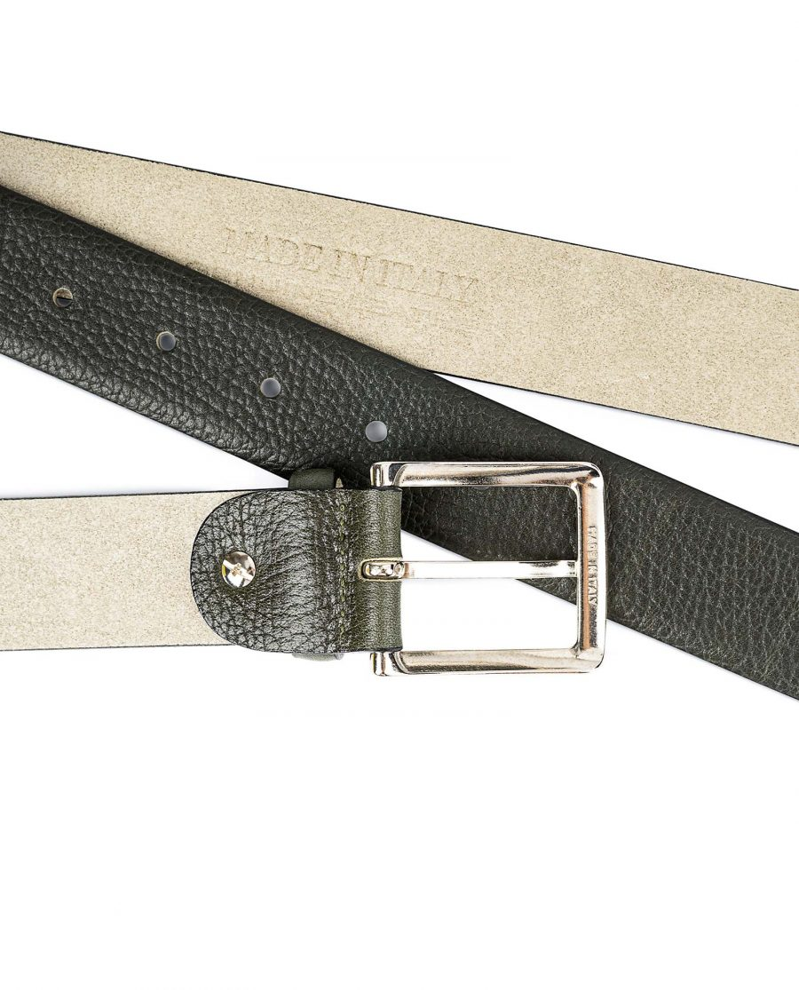 Olive-Green-Leather-Belt-by-Capo-Pelle-Buckle-Made-in-Italy-stamp