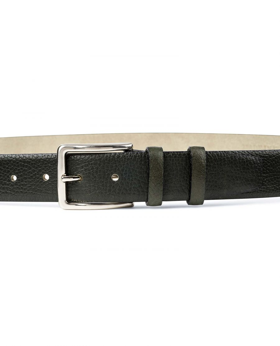 Olive-Green-Leather-Belt-by-Capo-Pelle-On-trousers