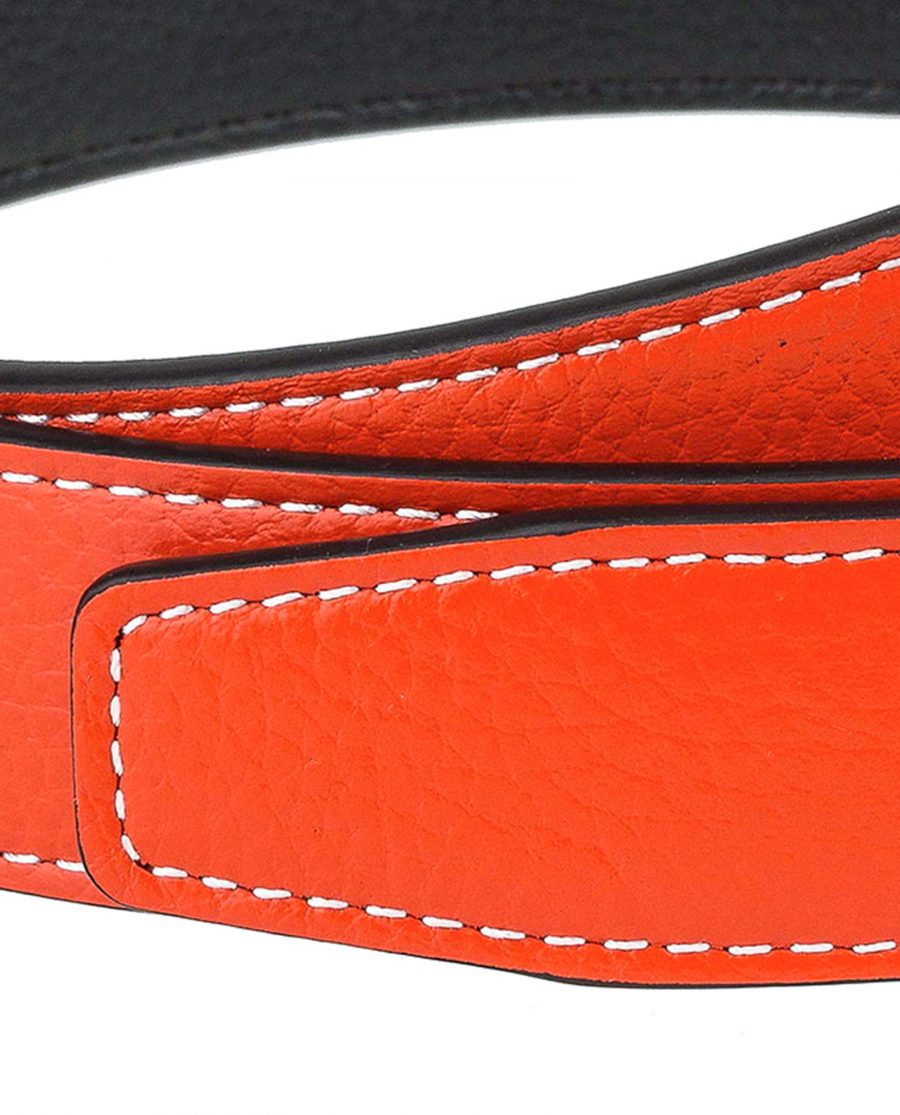 Orange-h-belt-strap-narrow-thread