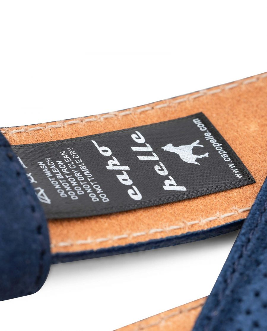 Perforated-Blue-Suede-Belt-Strap-1-3-8-inch-Wide-For-Men-Care-tag-1