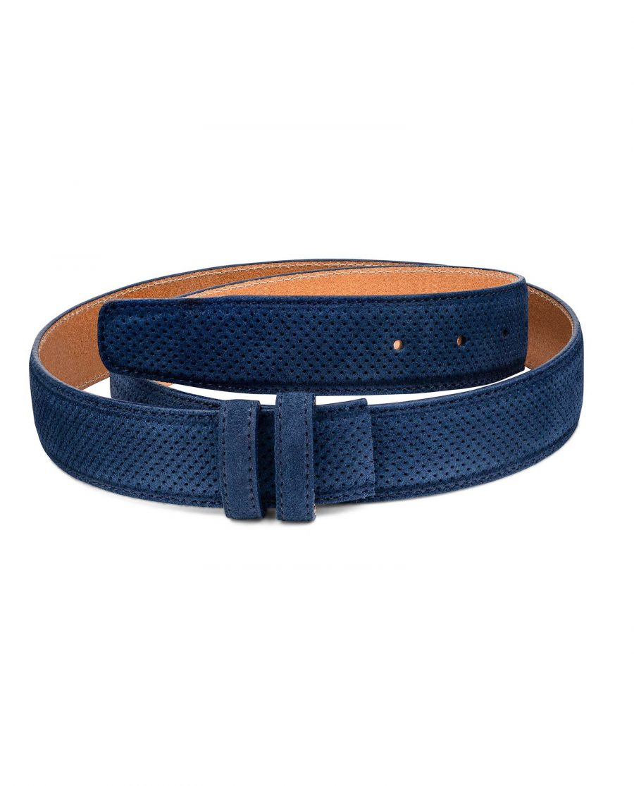 Perforated-Blue-Suede-Belt-Strap-1-3-8-inch-Wide-For-Men-First-picture-1