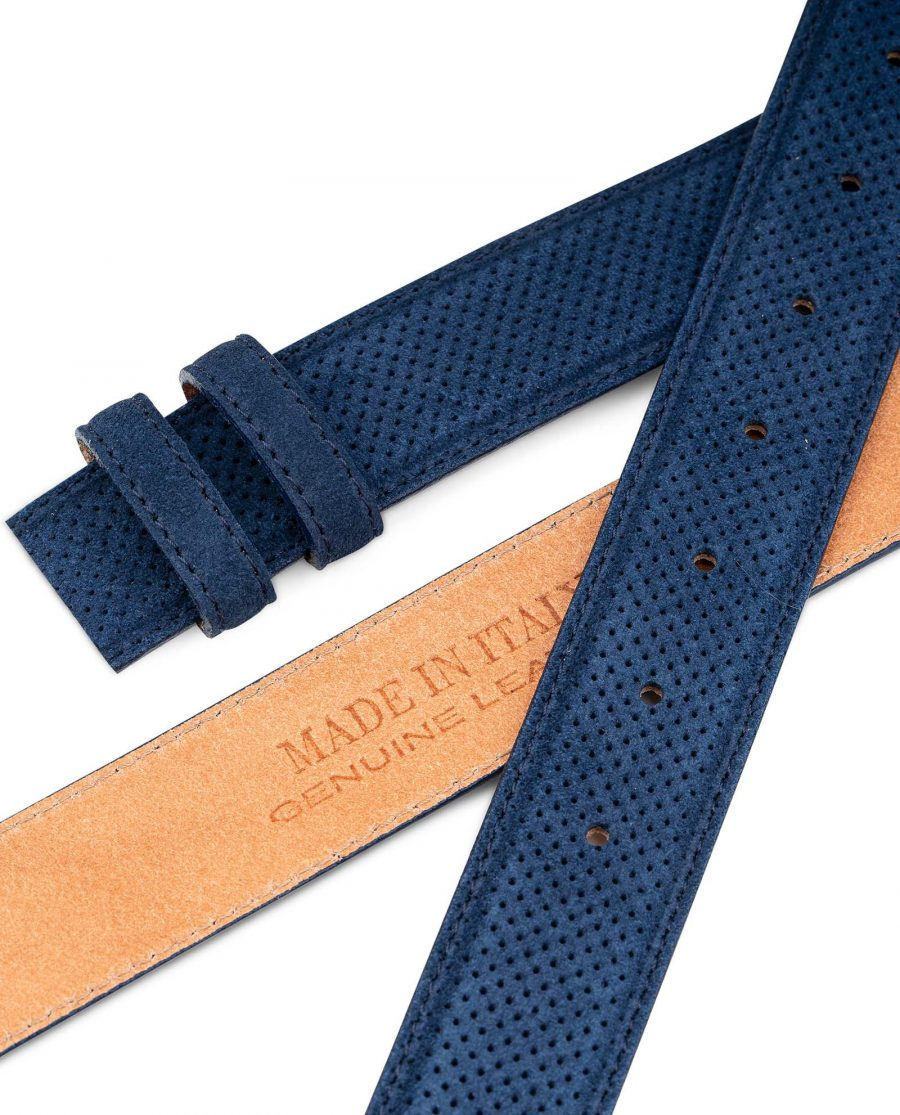 Perforated-Blue-Suede-Belt-Strap-1-3-8-inch-Wide-For-Men-Italian-leather-1