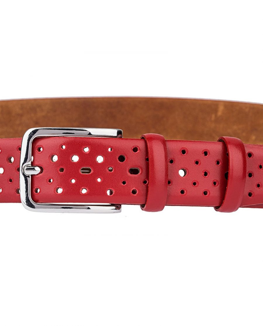 Perforated-Red-Leather-Belt-Buckle