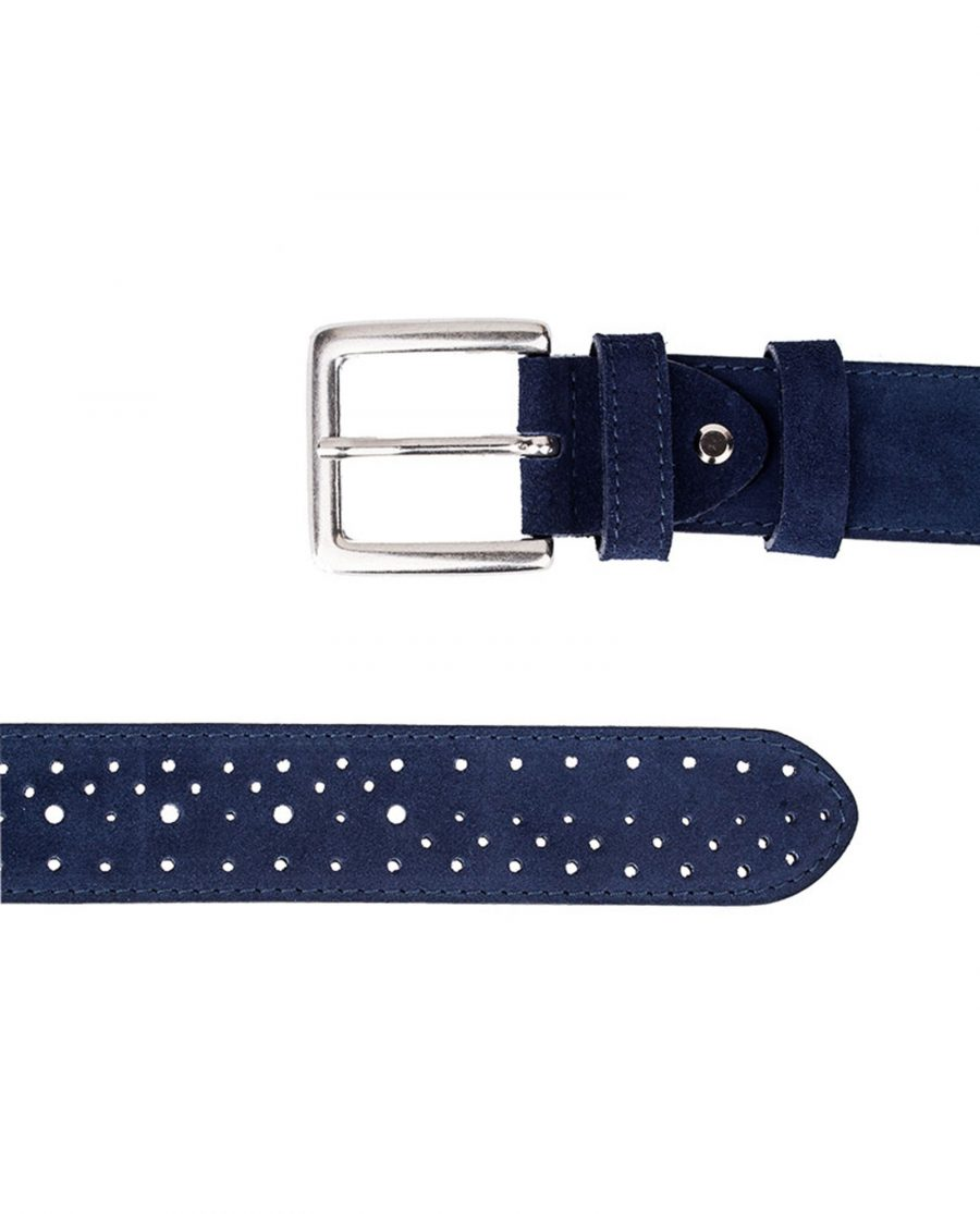 Perforated-Suede-Belt-Wide-Blue-Both-Ends