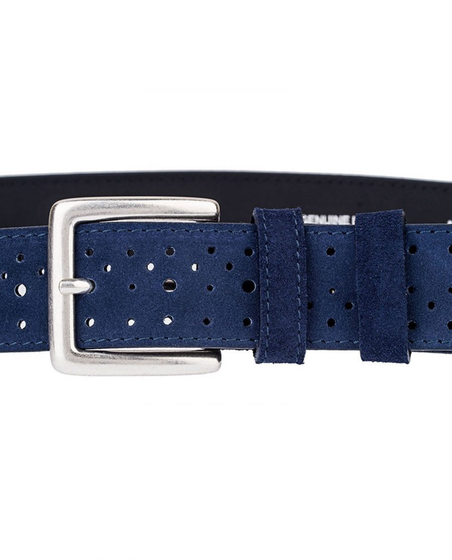Perforated-Suede-Belt-Wide-Blue-Buckle