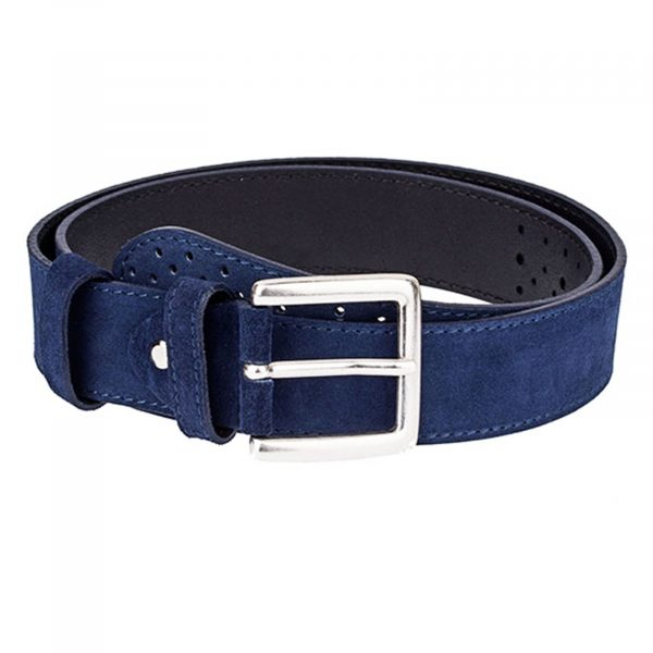 Perforated-Suede-Belt-Wide-Blue-Front