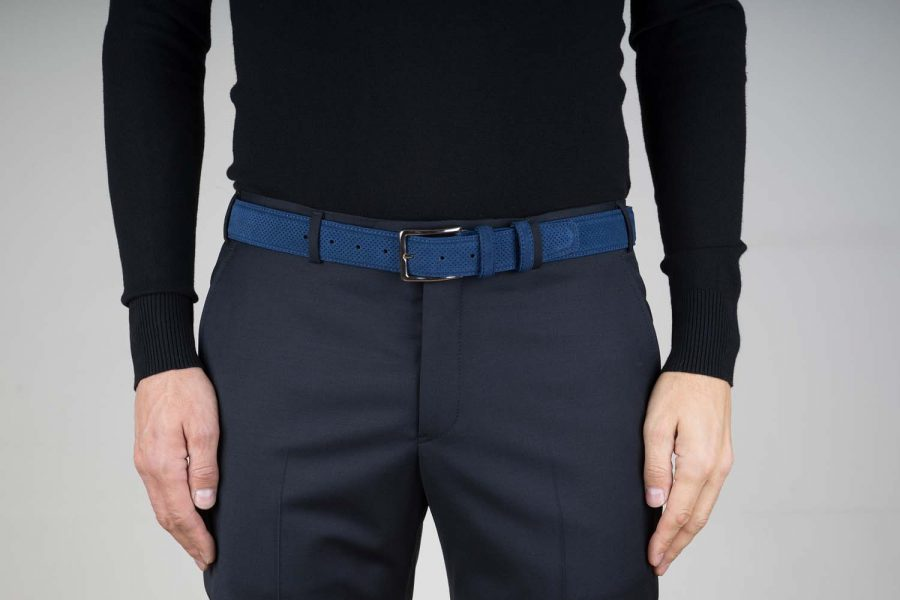 Perforated-Suede-Belt-in-Navy-Blue-Live-On-pants