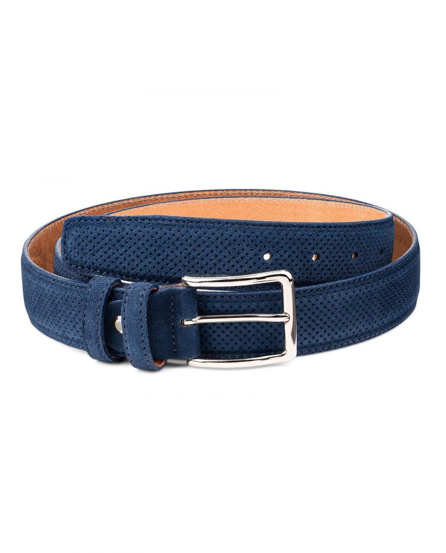 Perforated-Suede-Belt-in-Navy-Blue-Mens-Golf-by-Capo-Pelle-First-picture