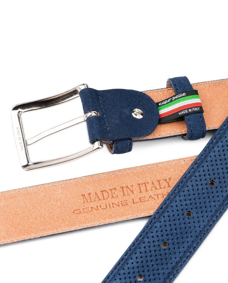 Perforated-Suede-Belt-in-Navy-Blue-Mens-Golf-by-Capo-Pelle-Hot-stamp
