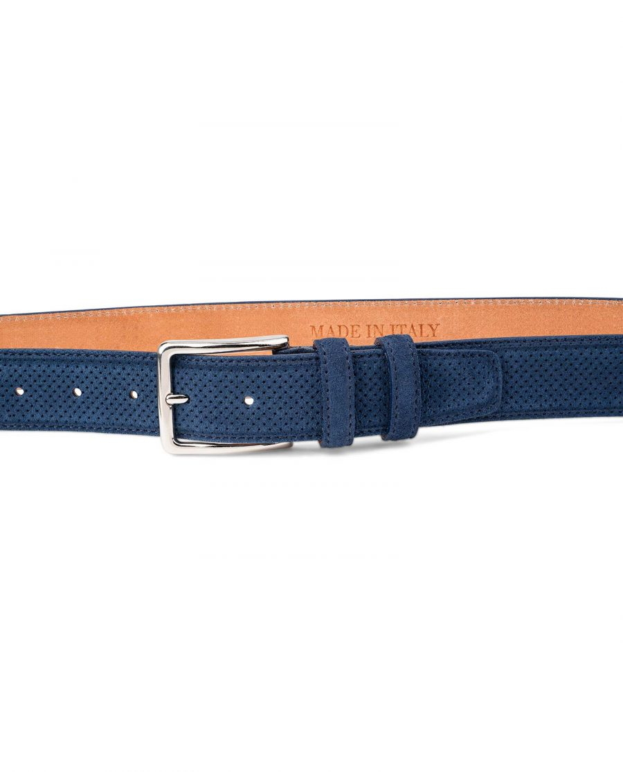 Perforated-Suede-Belt-in-Navy-Blue-Mens-Golf-by-Capo-Pelle-On-trousers