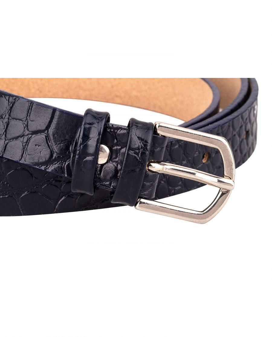 Porosus-Emboss-Blue-Edges-Skinny-Leather-Belt-Buckle