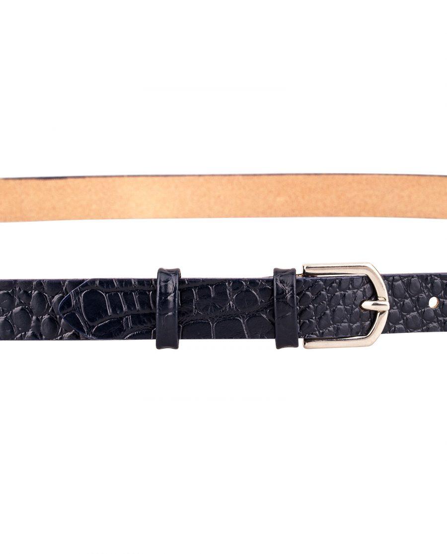 Porosus-Emboss-Blue-Edges-Skinny-Leather-Belt-Buckle-On-Pants