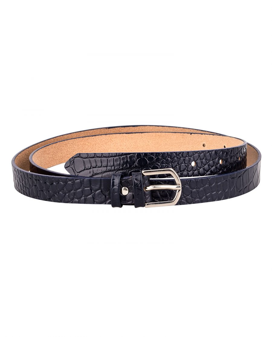 Porosus-Emboss-Blue-Edges-Skinny-Leather-Belt-Front-Image