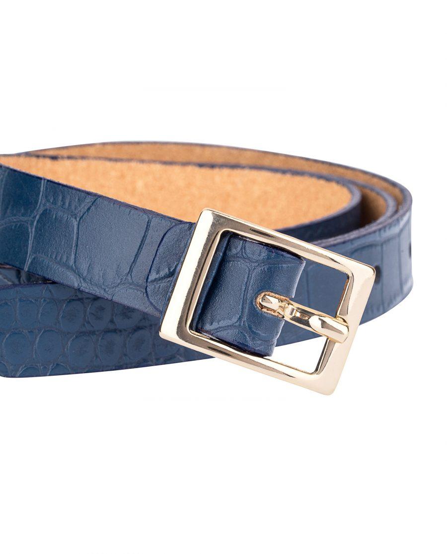 Porosus-Emboss-Blue-Skinny-Belt-Buckle