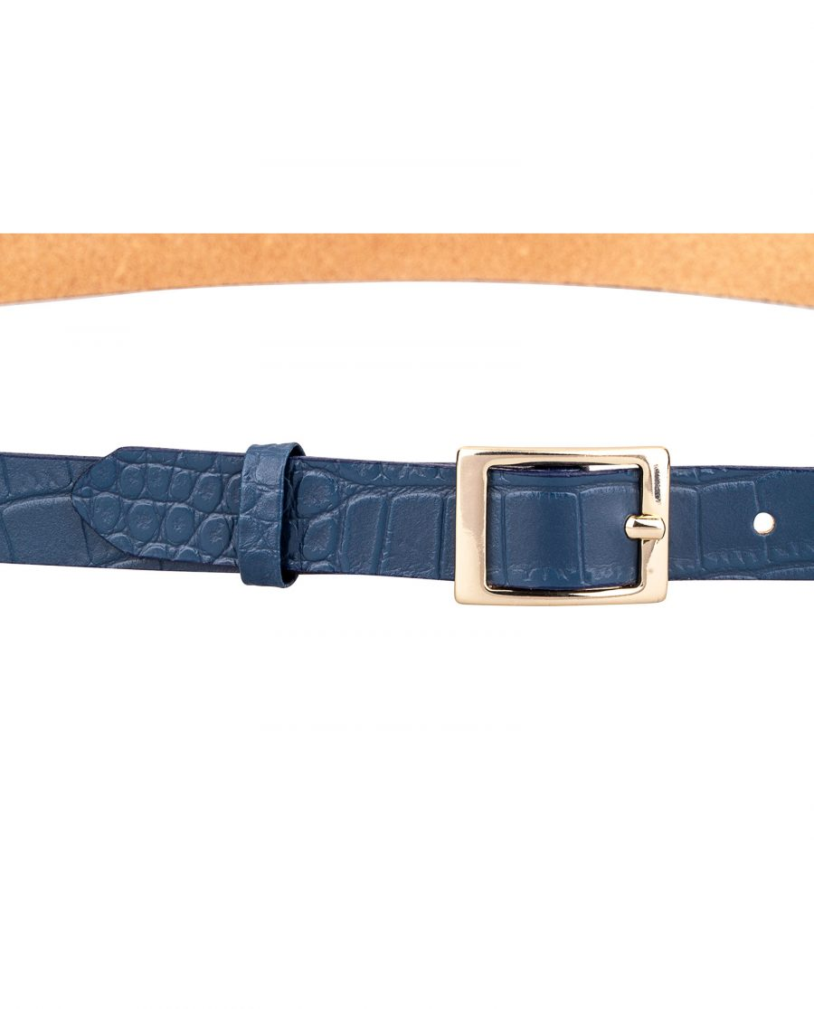 Porosus-Emboss-Blue-Skinny-Belt-Buckle-On-pants
