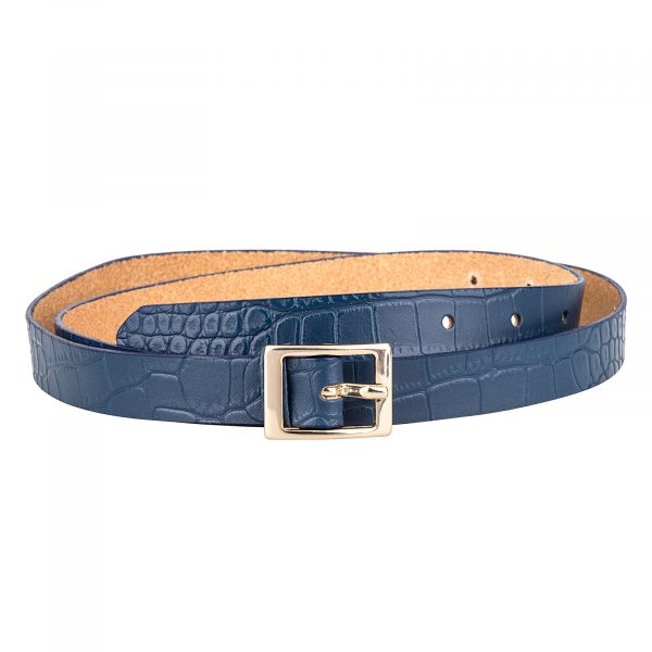 Porosus-Emboss-Blue-Skinny-Belt-Front-Image