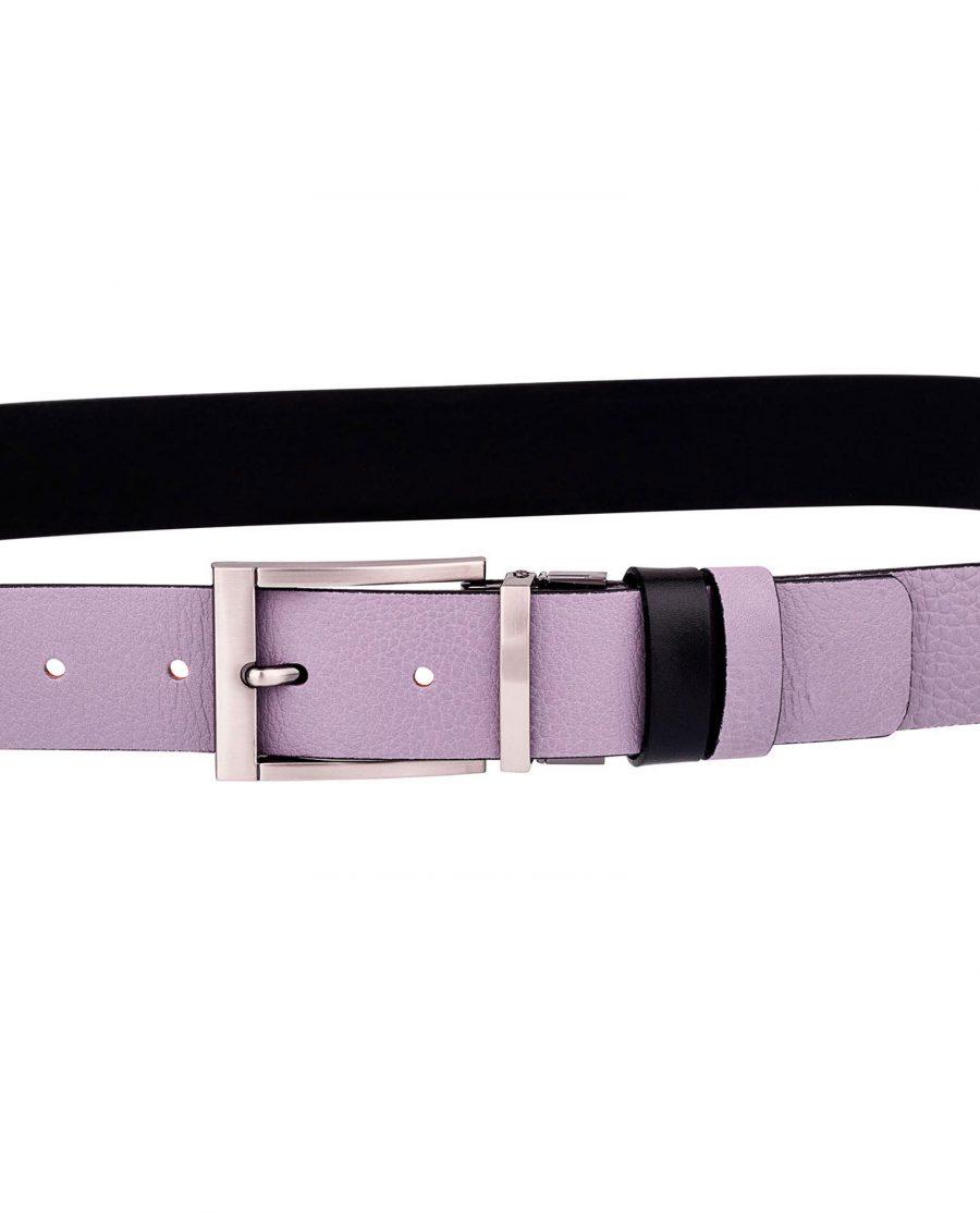 Purple-Belt-Reversible-leather-On-trousers