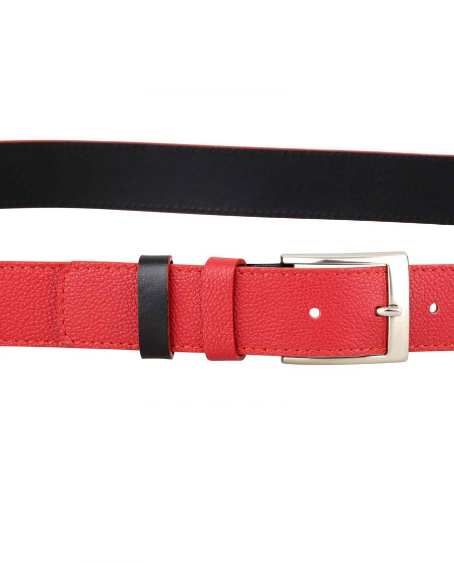 Red-Black-Reversible-Belt-On-trousers