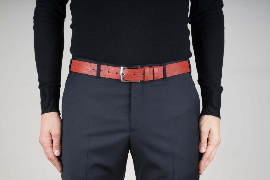 Red-Leather-Belt-Laser-Feather-Live-on-Pants