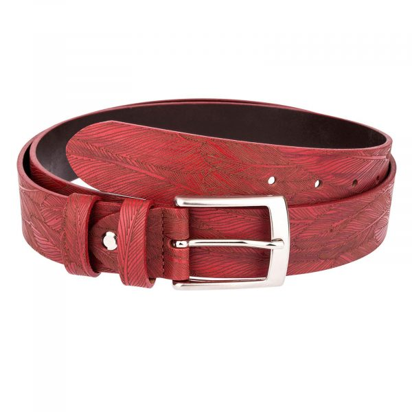 Red-Leather-Belt-Laser-Feather-Main-picture