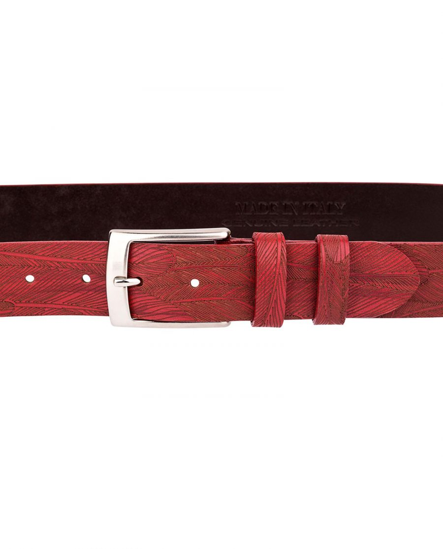 Red-Leather-Belt-Laser-Feather-On-jeans