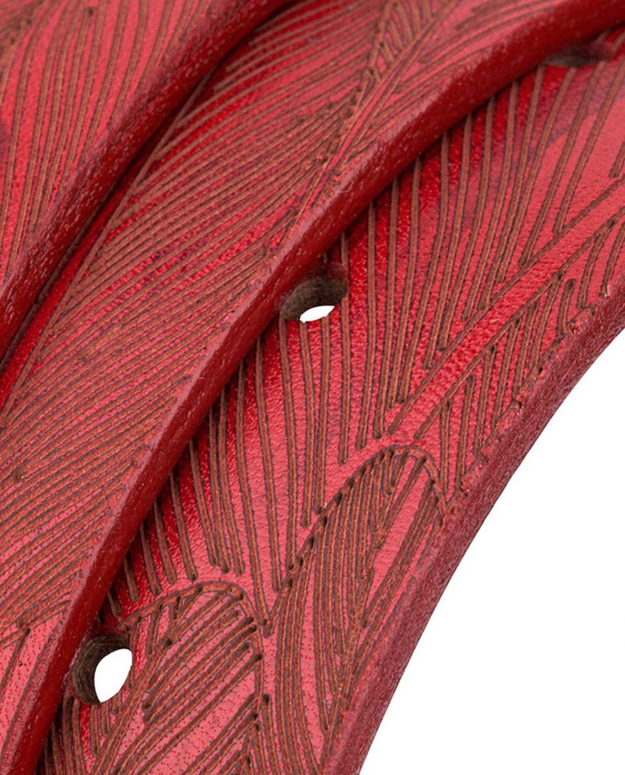 Red-Leather-Belt-Laser-Feather-Rolled