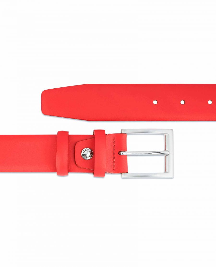 Red-Leather-Belt-Vegetable-Tanned-Natural