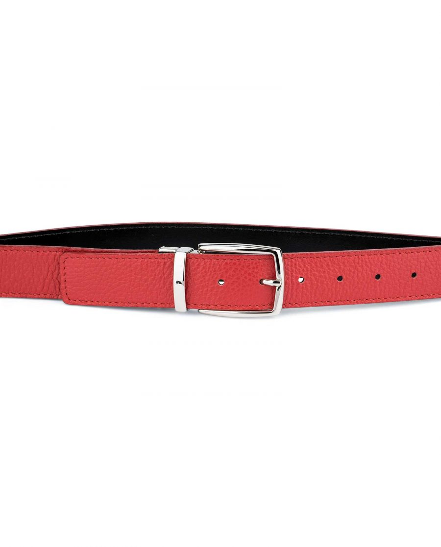 Red-Reversible-Belt-with-Twist-Buckle-On-Trousers