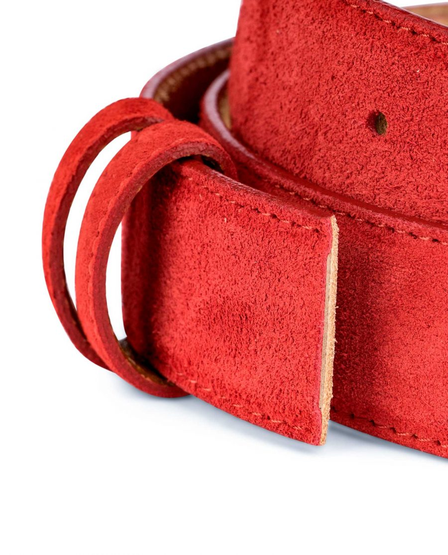 Red-Suede-Belt-Strap-1-3-8-inch-wide-35-mm-Genuine-leather