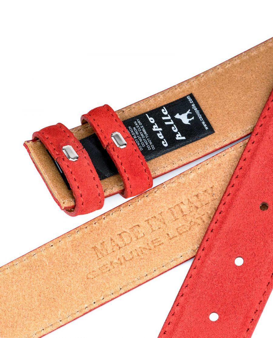 Red-Suede-Belt-Strap-1-3-8-inch-wide-35-mm-Heat-stamp