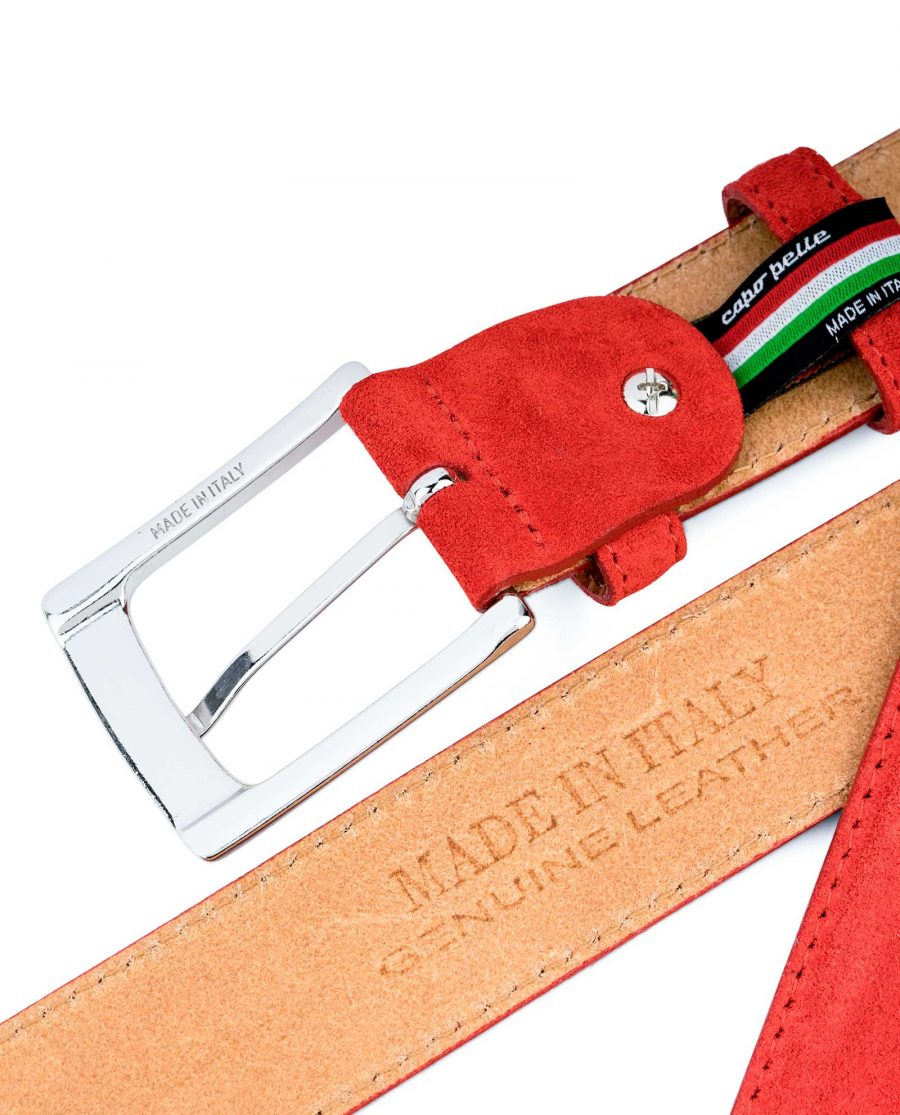 Red-Suede-Belt-by-Capo-Pelle-Belt-loop