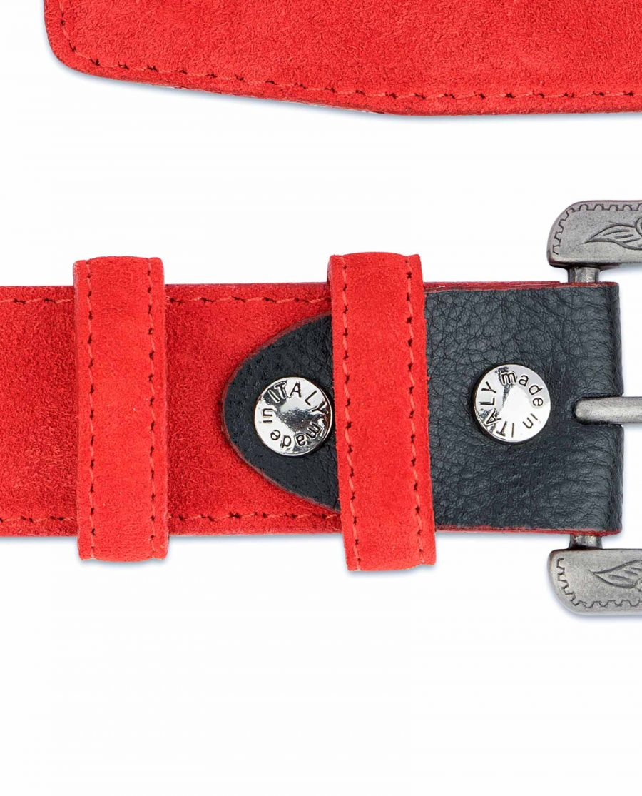 Red-Western-Belt-Italian-Suede-Leather-Belt-loops