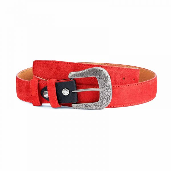 Red-Western-Belt-Italian-Suede-Leather-Capo-Pelle