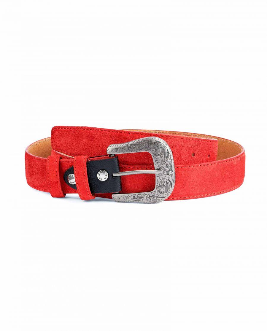 Red-Western-Belt-Italian-Suede-Leather-Capo-Pelle