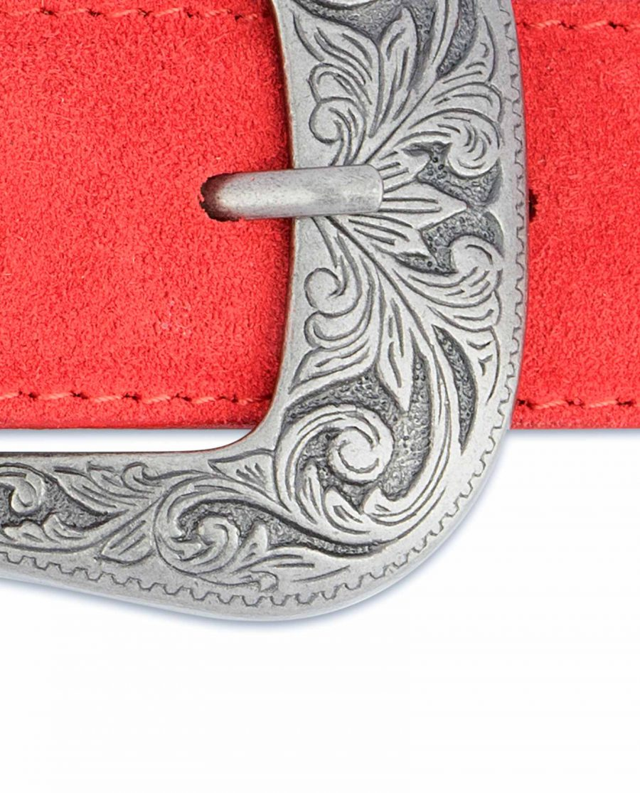 Red-Western-Belt-Italian-Suede-Leather-Floral-engrave-buckle