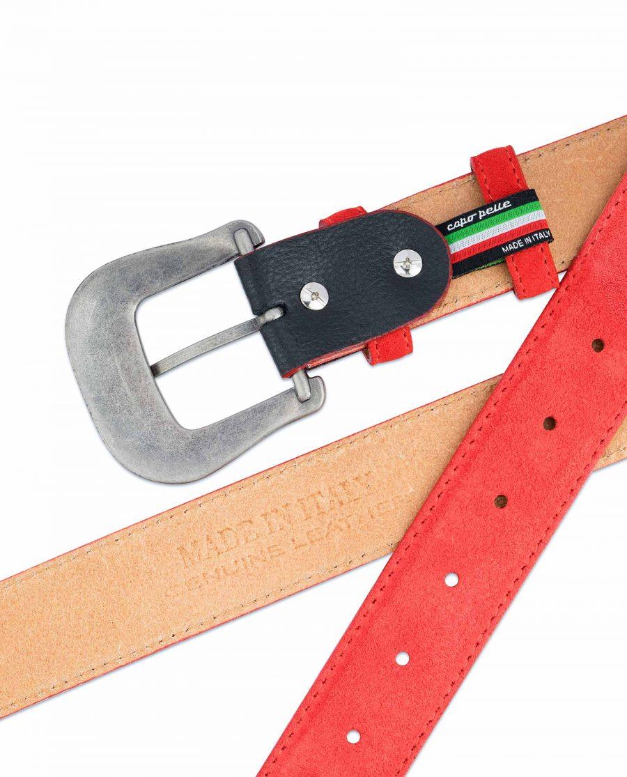 Red-Western-Belt-Italian-Suede-Leather-Genuine
